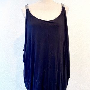 LANE BRYANT BLACK TANK TOP WITH SILVER DETAILING